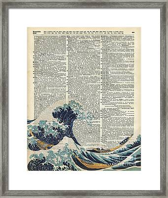 Dictionary Art - The Great Wave Off Kanagawa  Framed Print by Jacob Kuch