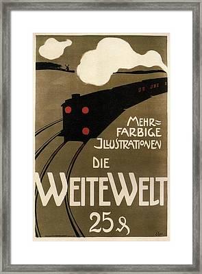 Die Weite Welt - The Wide World - Retro German Travel Poster Framed Print
