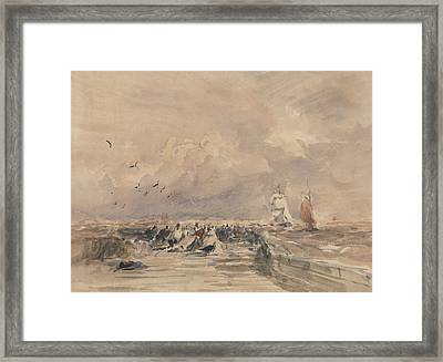 Dieppe Pier, Stiff Breeze Framed Print