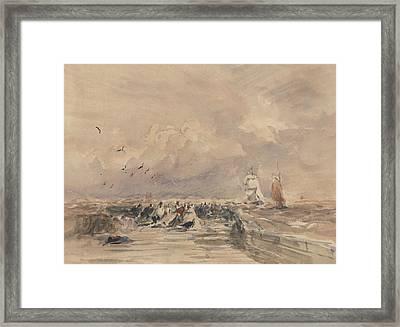 Dieppe Pier, Stiff Breeze Framed Print by David Cox