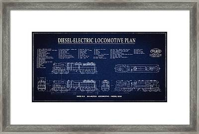 Diesel-electric Locomotive Plan C. 1960 Framed Print by Daniel Hagerman