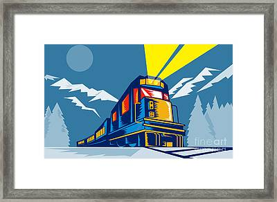 Diesel Train Winter Framed Print