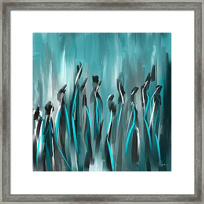Differences - Turquoise Gray And Black Art Framed Print by Lourry Legarde