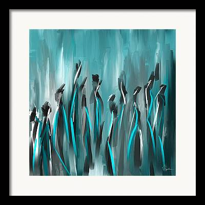 Turquoise And Brown Framed Prints