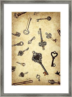Different Keys On Textured Brown Background Framed Print by Jorgo Photography - Wall Art Gallery