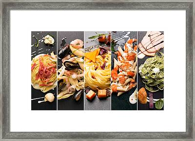 Different Photos Of Italian Pasta Framed Print