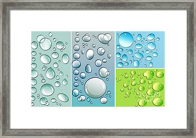 Different Size Droplets On Colored Surface Framed Print by Sandra Cunningham