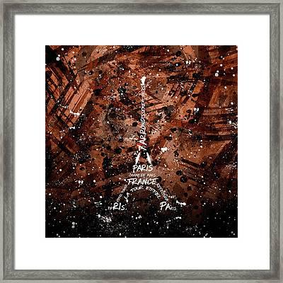 Digital Art Eiffel Tower - Brown Framed Print