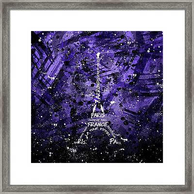 Digital Art Eiffel Tower - Purple Framed Print by Melanie Viola
