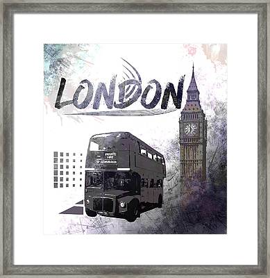 Digital-art London Composing Big Ben And Red Bus Framed Print