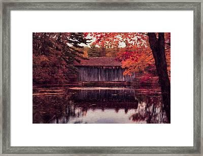 Digital Art Of Covered Bridge   Framed Print by Jeff Folger