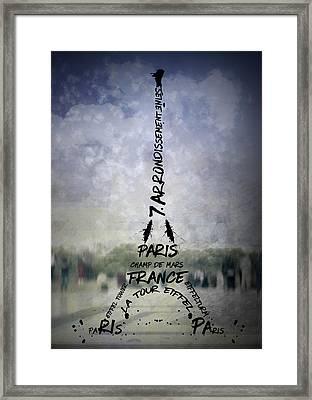 Digital-art Paris Eiffel Tower No.1 Framed Print by Melanie Viola