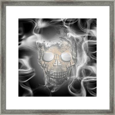 Digital-art Smoke And Skull Framed Print