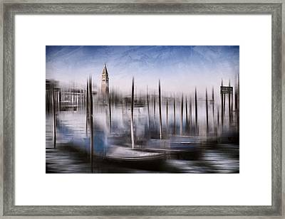Digital-art Venice Grand Canal And St Mark's Campanile Framed Print by Melanie Viola