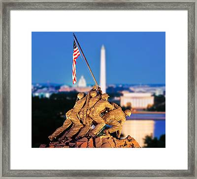 Digital Composite, Iwo Jima Memorial Framed Print