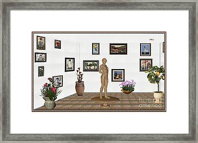 digital exhibition _ Statue of a Statue 22 of posing lady  Framed Print