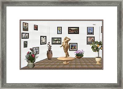 digital exhibition  Statue 23 of posing lady  Framed Print