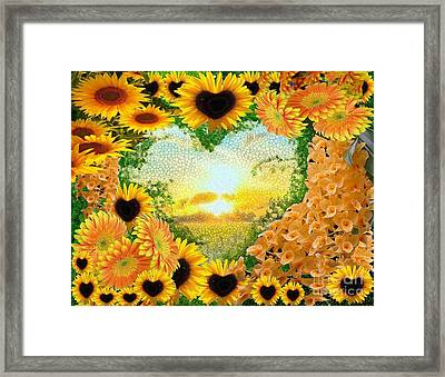 Digital Florals Collage Mosaic Framed Print by Catherine Lott