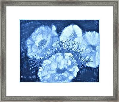Digital Flower Painting In Blue Haze Framed Print