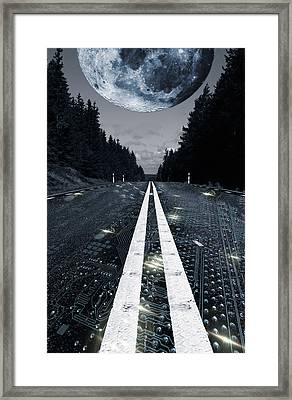 Digital Highway And A Full Moon Framed Print by Christian Lagereek