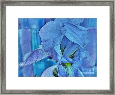 Framed Print featuring the mixed media Digital Iris by Marsha Heiken