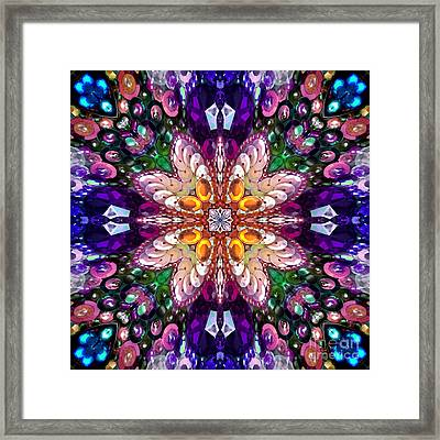 Digital Kaleidoscope -rhinestone Mosaic - Wow Framed Print