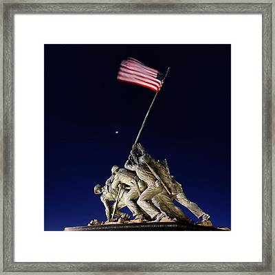 Digital Liquid - Iwo Jima Memorial At Dusk Framed Print by Metro DC Photography