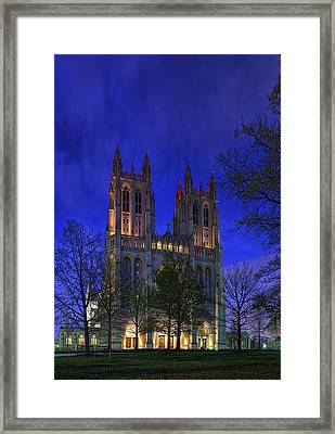 Digital Liquid - Washington National Cathedral After Sunset Framed Print by Metro DC Photography