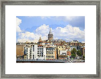 Digital Manipulation Of Galata Tower ,istanbul,turkey. Framed Print