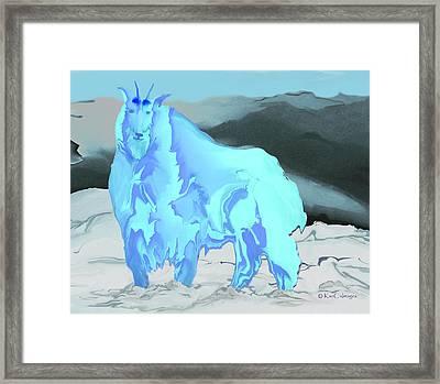 Framed Print featuring the digital art Digital Mountain Goat 2 by Kae Cheatham