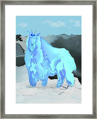 Framed Print featuring the digital art Digital Mountain Goat by Kae Cheatham