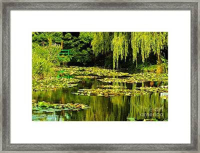 Digital Paining Of Monet's Water Garden  Framed Print by MaryJane Armstrong
