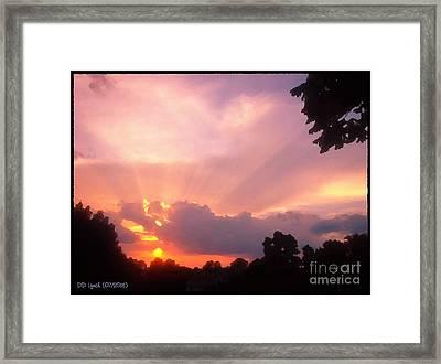 Digital Painting Of Sunrise Framed Print by Debra Lynch