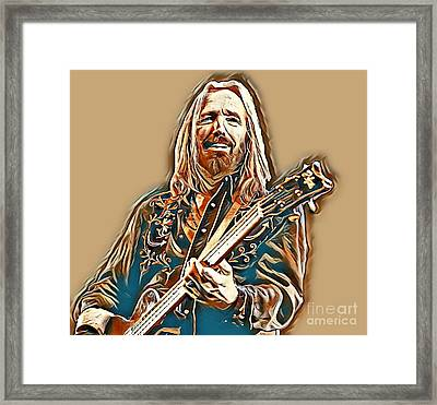 Digital Painting Of Tom Petty In Golds Framed Print