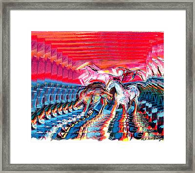 Digital Red And Blue3 Framed Print by Mary Armstrong
