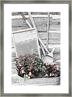 Digital Sketch Wash Tub And Flowers Framed Print by Linda Phelps