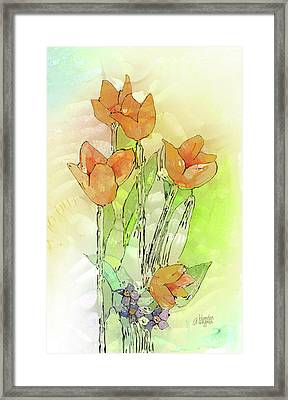 Digital Tulips Framed Print by Arline Wagner