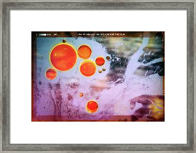 Framed Print featuring the photograph Digital Virus Orange One Bubbles by John Williams
