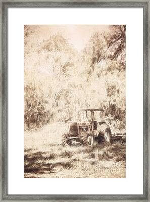 Digitally Drawn Vintage Farm Yard Tractor  Framed Print by Jorgo Photography - Wall Art Gallery