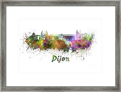 Dijon Skyline In Watercolor Framed Print