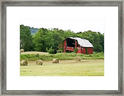 Dilapidated Old Red Barn Framed Print by Douglas Barnett