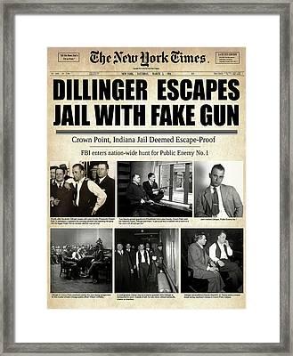 Dillinger Escapes With Fake Gun 1934 Framed Print