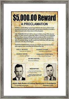 Dillinger - Governors' Wanted Proclamation - May 1934 Framed Print
