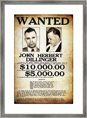 Dillinger Public Enemy No. 1 Wanted Poster  1934 Framed Print
