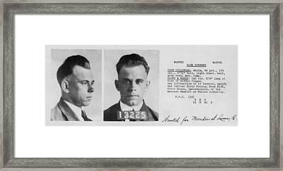 John Dillinger Wanted File Document  C. 1933 Framed Print