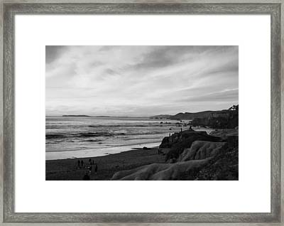 Dillon Beach Sunset Black And White Framed Print