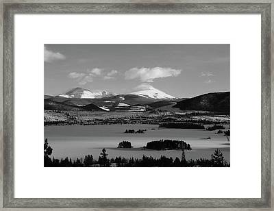 Framed Print featuring the photograph Dillon In Winter Bw by Marie Leslie