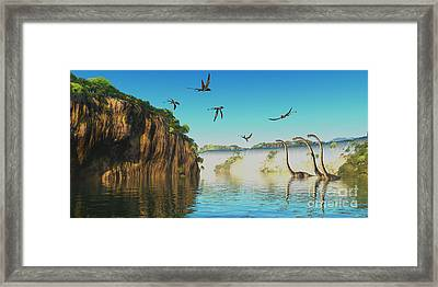 Dimorphodon And Omeisaurus Dinosaurs Framed Print by Corey Ford