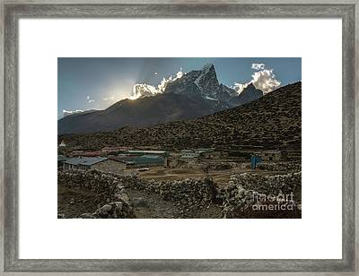 Framed Print featuring the photograph Dingboche Evening Sunrays by Mike Reid
