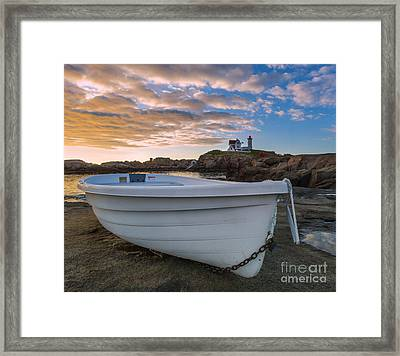 Dinghy At Nubble Lighthouse Framed Print by Jerry Fornarotto
